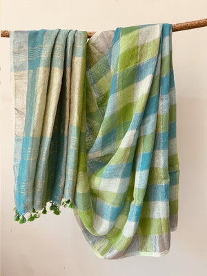 Blue Green Linen check saree with a hint of silver