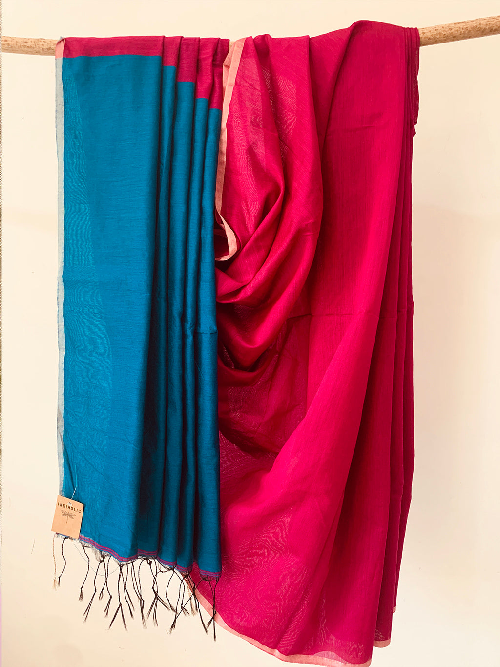 Handwoven cotton Silk Saree BLUE PINK