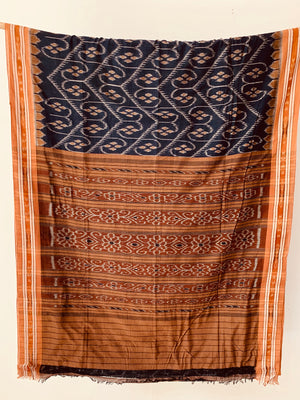 Handwoven Navy Cotton Ikat Body design saree