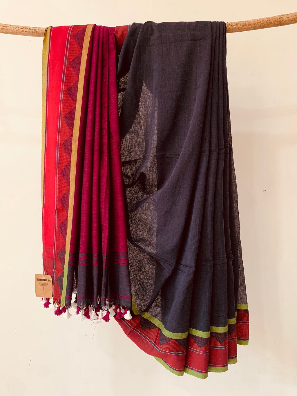 Grey Handwoven Khadi Cotton saree