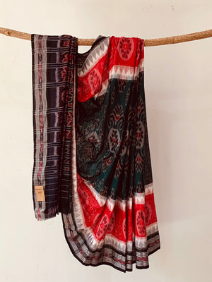 Handwoven Cotton red green Ikat Special Body design saree