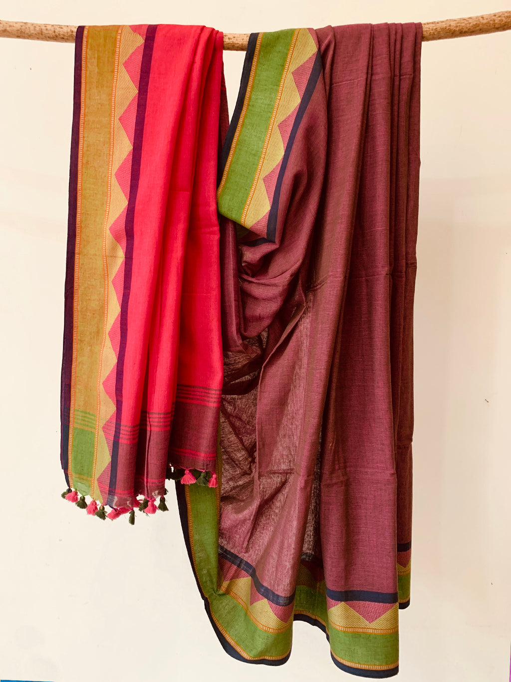 Deep rust pink  Handwoven  Cotton saree