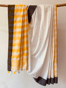 Cotton Slub Check Saree BH025