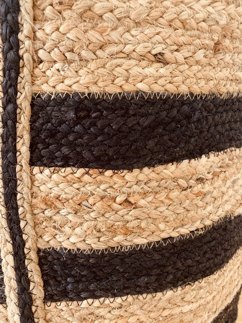 Black stripe jute bags