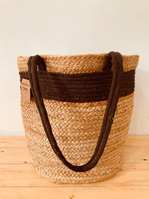 Handwoven Jute bag with brown stripe
