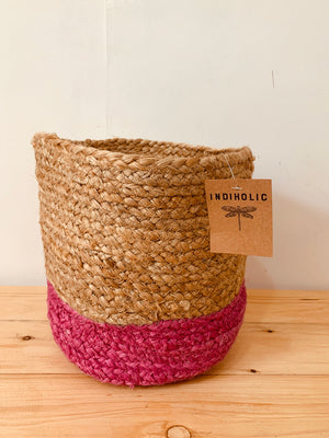Handwoven Fuschia Jute Planter