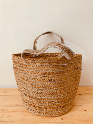 Jute Basket Large Silver Jute handle