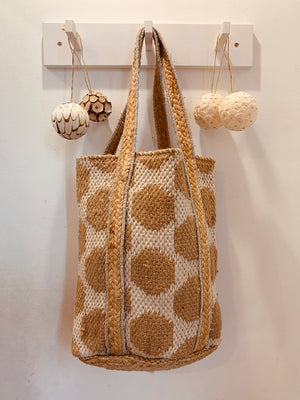 Handwoven honeycomb white with silver jute bag
