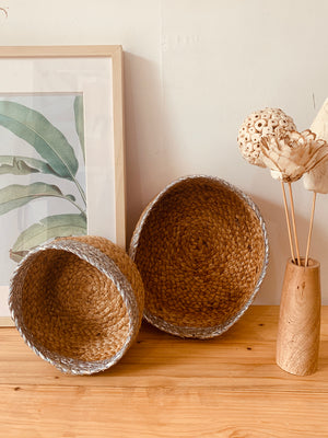 Handwoven Jute basket set Jute Silver edge, set of 2.