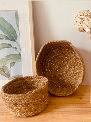 Handwoven Jute basket set Jute Gold, set of 2.