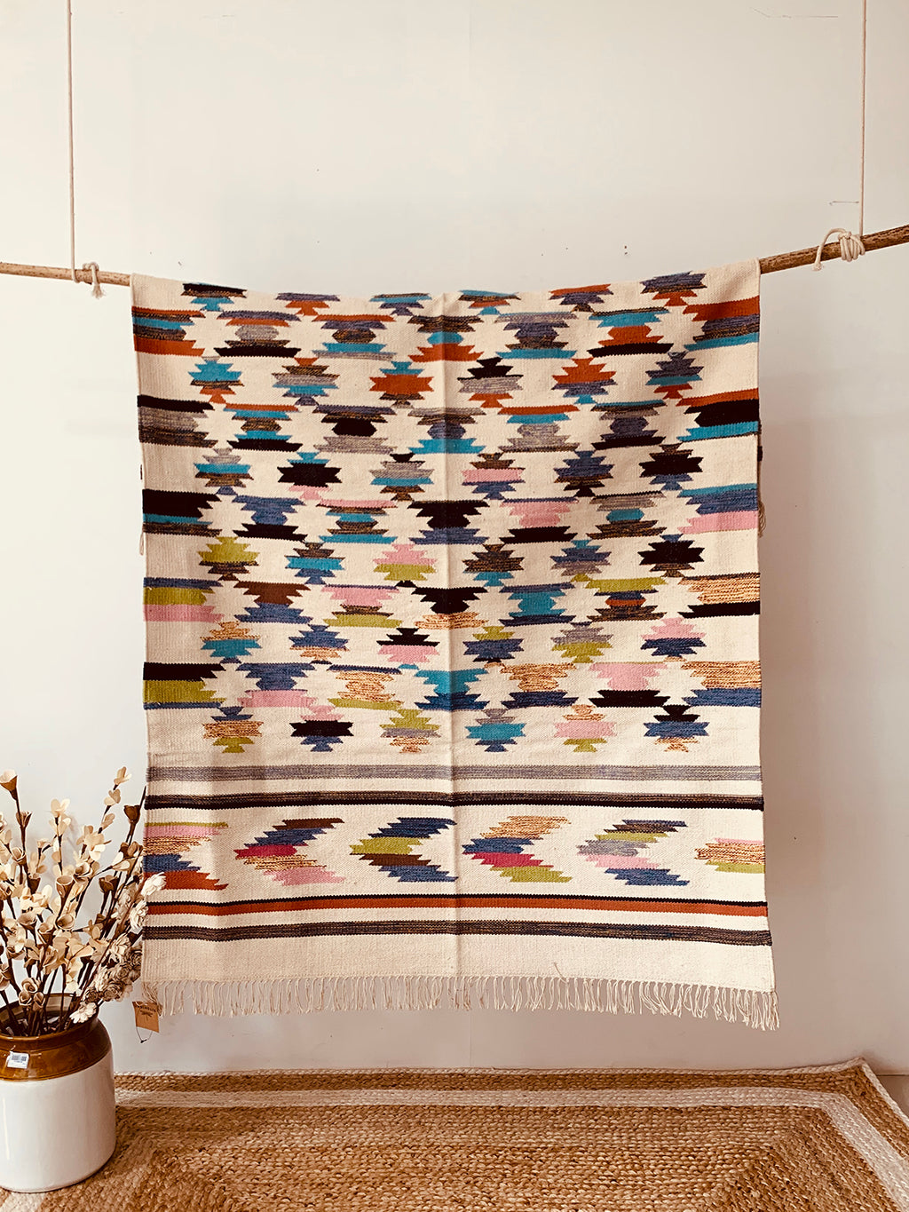 Multi-color Handwoven Printed Cotton Rugs