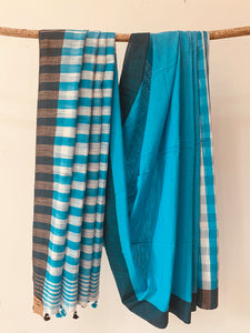 Cotton Slub Check Saree BH020