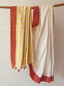 Cotton Slub Check Saree BH023