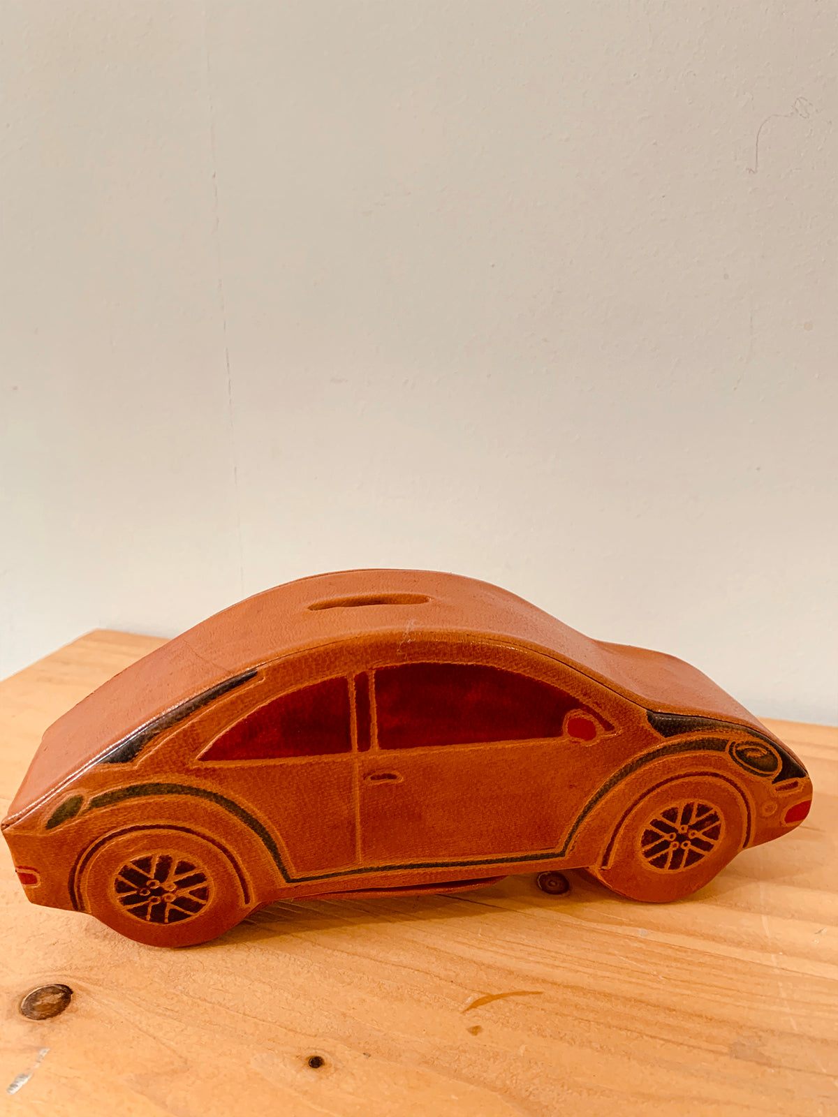 Leather Coin Bank -Car