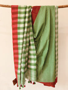 Cotton Slub Check Saree BH029
