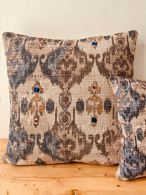 Ecru Blue Chenile Printed Floor Cushion Cover 65X65 cm