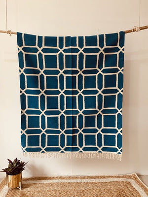 Blue Hand woven cotton Rug