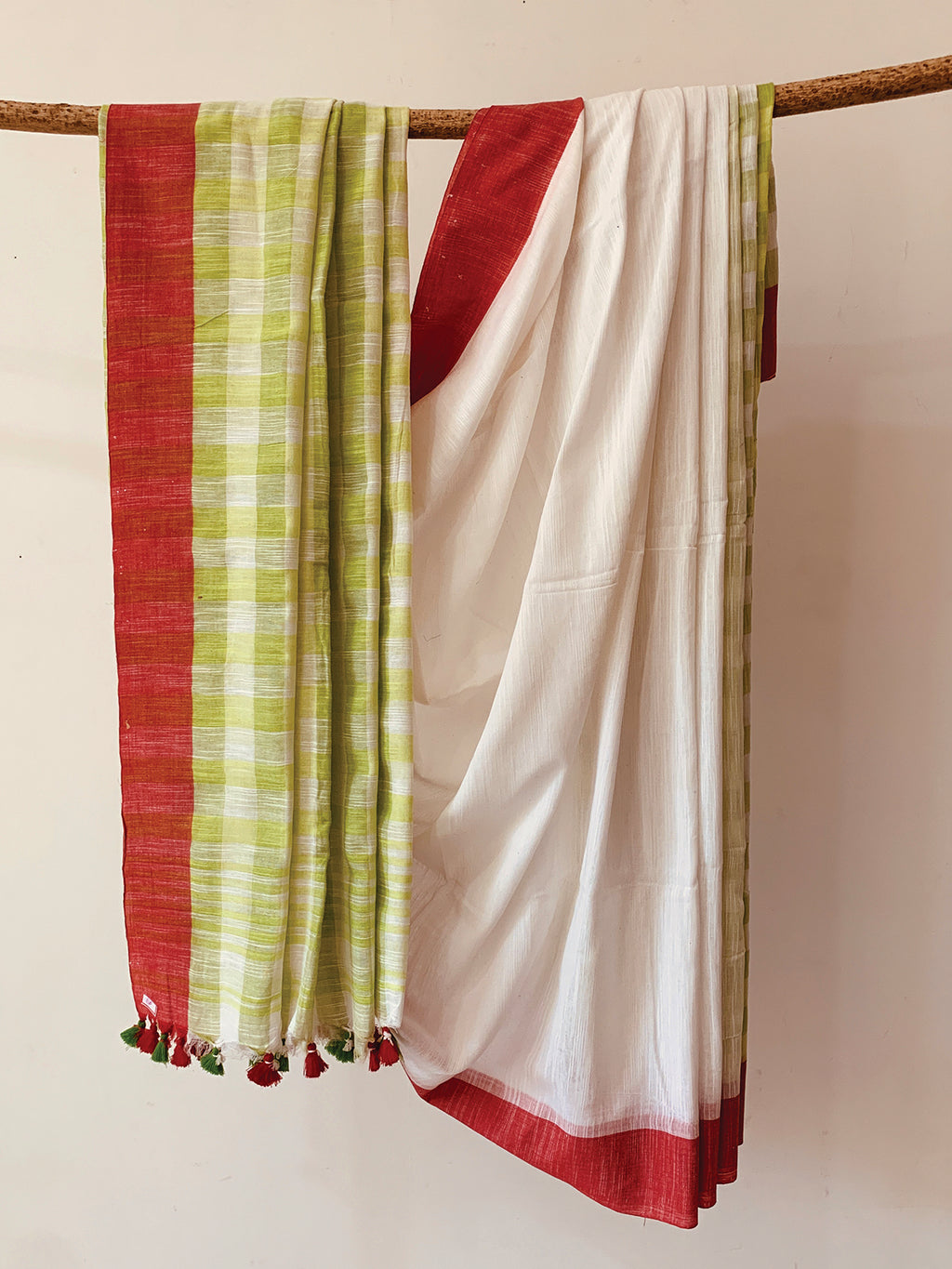 Cotton Slub Check Saree BH026