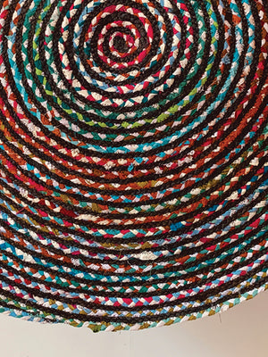 Multicolor braided  Round Rug 4*4