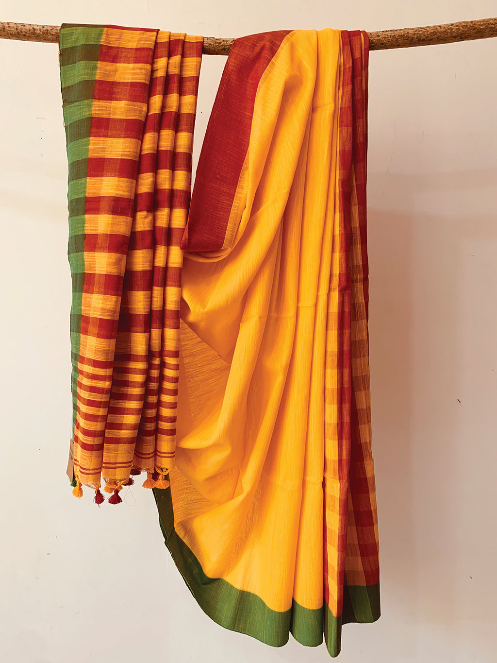 Cotton Slub Check Saree BH024