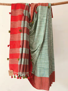 Handwoven cotton ikat effect green