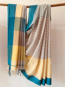 Handwoven Yellow Grey Cotton stripe Saree