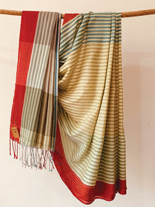 Handwoven Green Blue Cotton stripe Saree