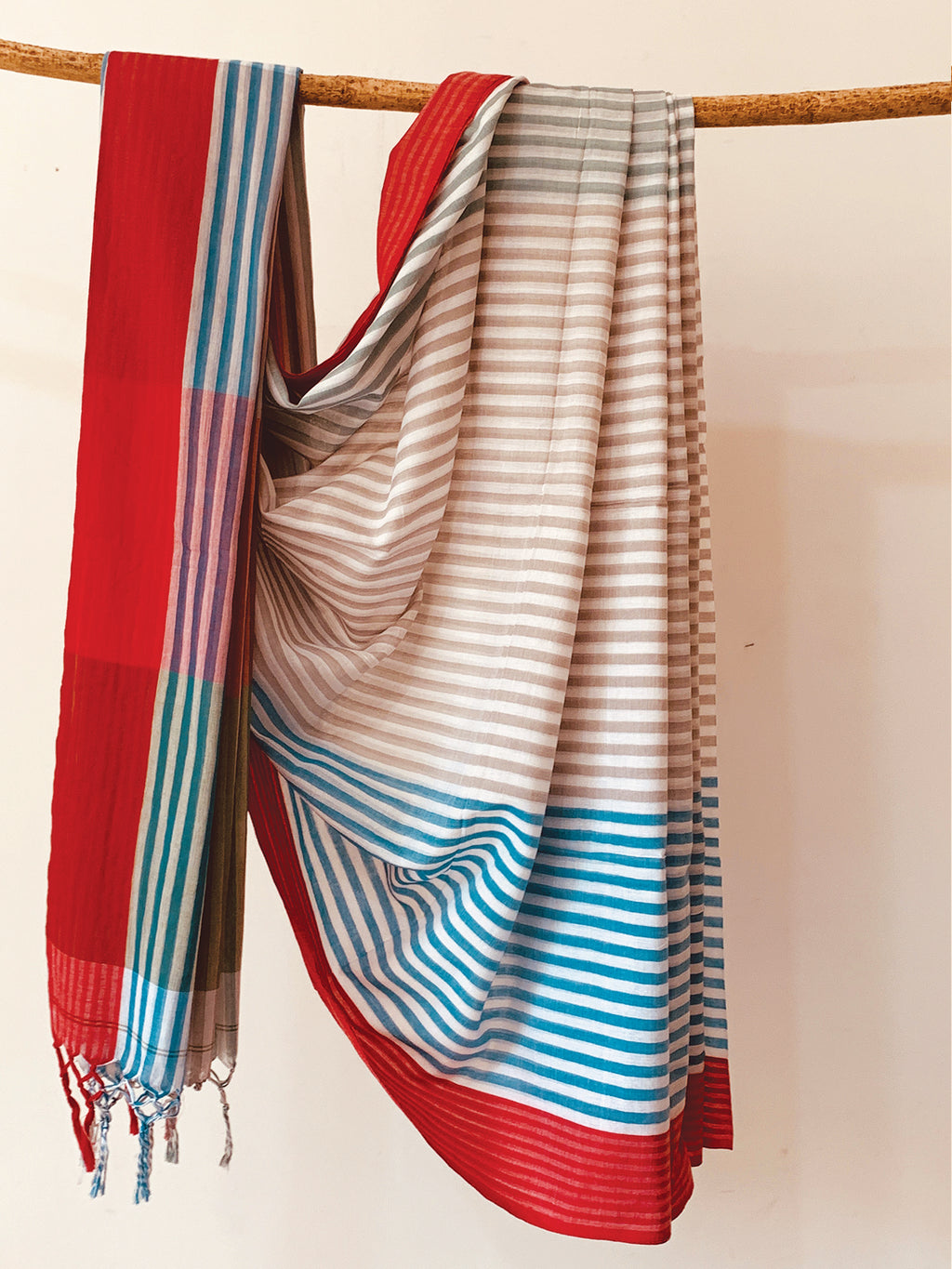 Handwoven Grey Blue Cotton stripe Saree