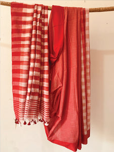 Cotton Slub Check Saree Red