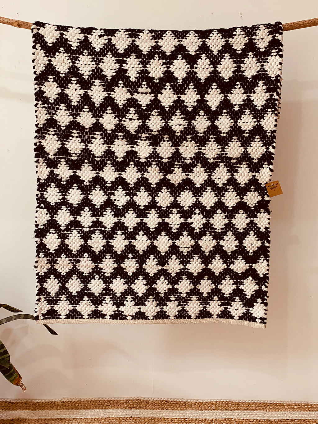 Black and white Chindhi Woven Rug