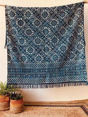 Floral print indigo Cotton rug  4x6 ft/120*180 cm