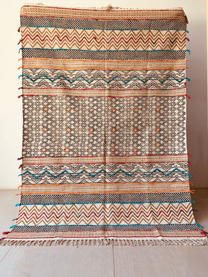 Multicolor hand block printed embroidered cotton rug 120*160