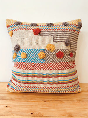 Textured woven with pompom cushion cover 45 * 45 cm