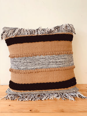 Ecru  textured woven fringes cushion cover 45 * 45 cm
