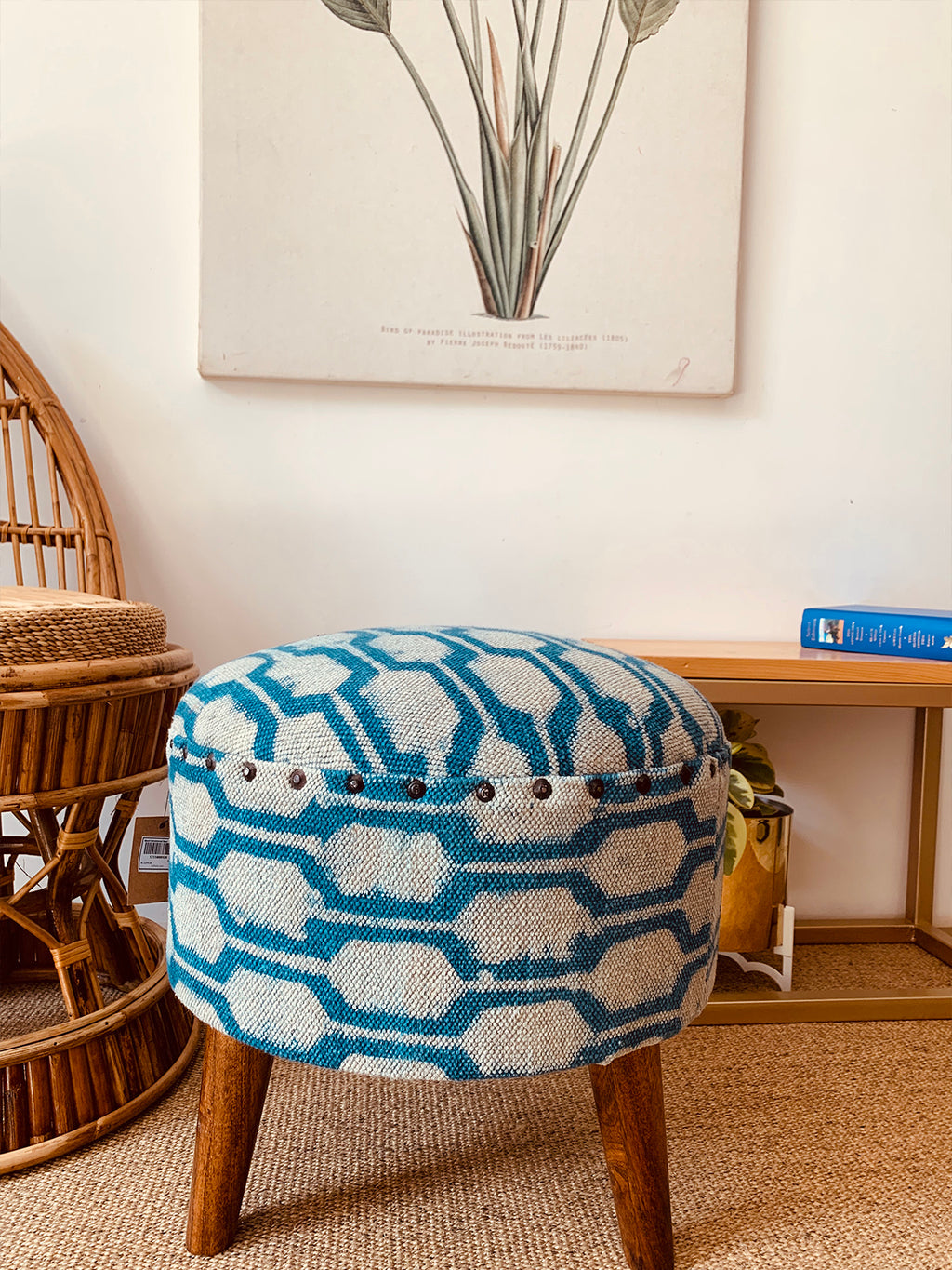 Wood Upholstered Stool INDIGO