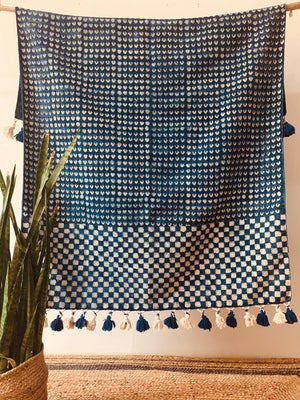 Checkered border print with pompom indigo Cotton rug 4x6 ft/120*180 cm