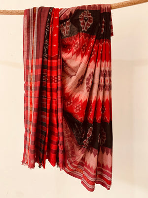 Handwoven Cotton Ikat Red black Special Body design saree