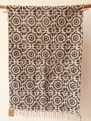 Floral printed rug in off white and blue 2x3 ft/60*90 cm