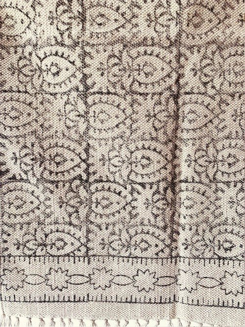 Black and off-white floral cotton printed rug 2x3 ft/60*90 cm