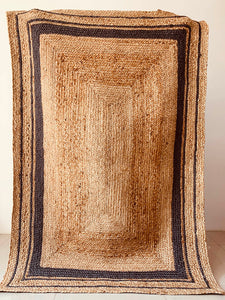 Jute Grey Border striped Rug 8 x 10 ft