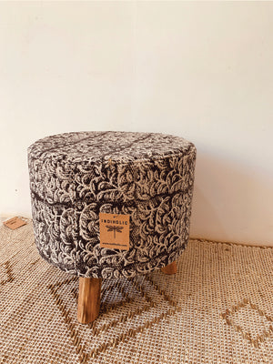 Geometric Black print embroidered stool