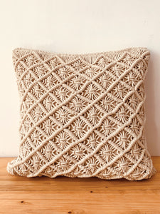 Macrame ecru cushion 16*16
