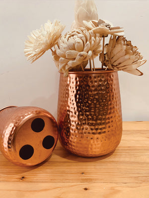 Brass finish hammered metal planter  set of 2