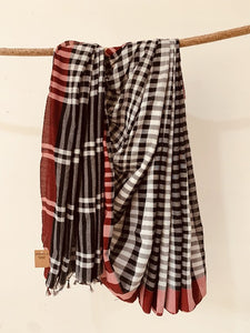 Black and white  Gamcha Check cotton Saree