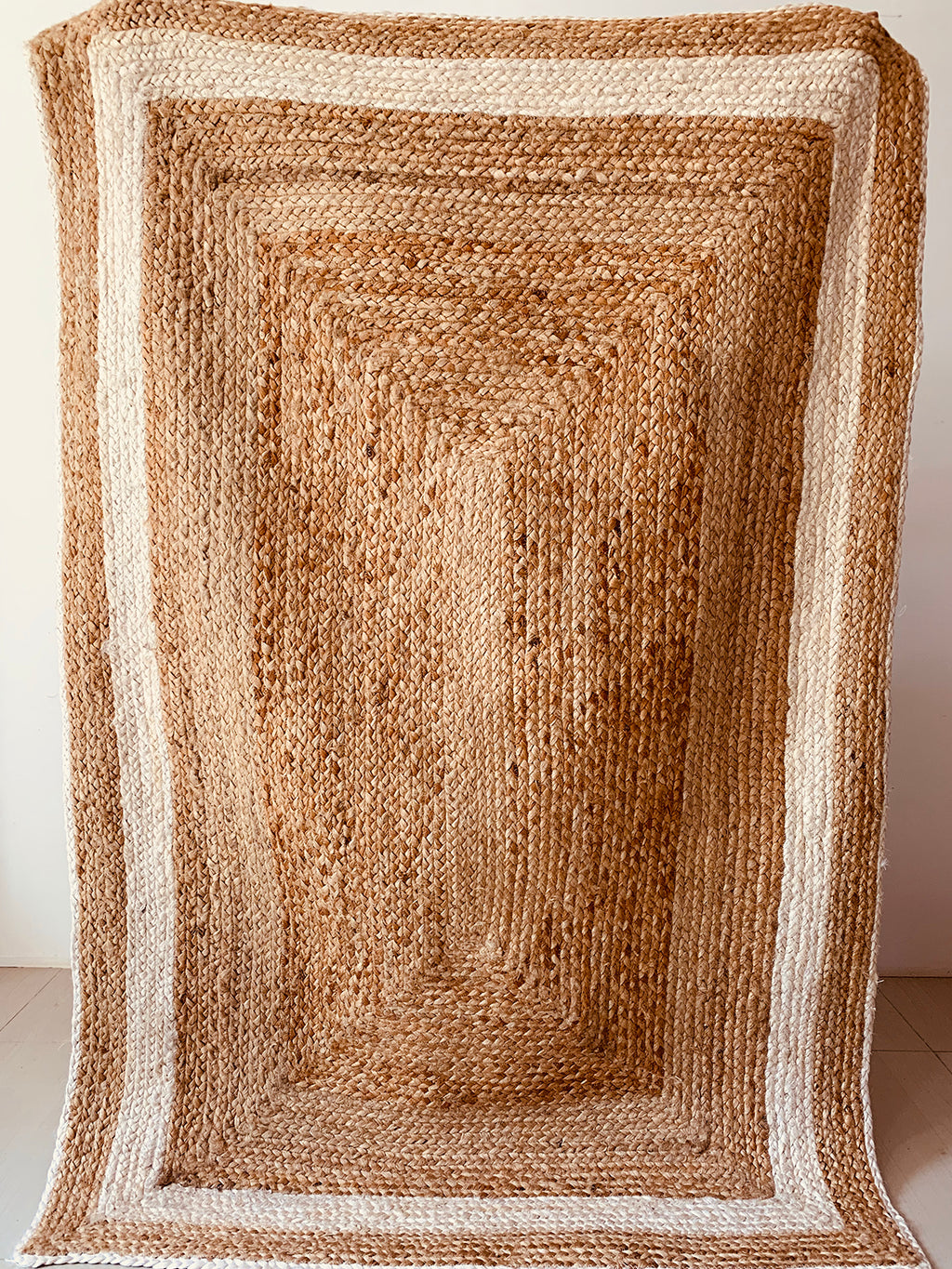 Jute Ecru striped Border Rug 8 x 10 ft