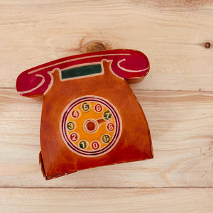 Leather Coin Bank- Telephone