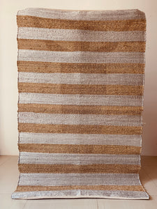 Jute Rug with Silver lurex Stripes