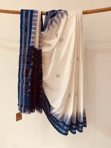 Handwoven Cotton Ikat Rekha design saree OH029
