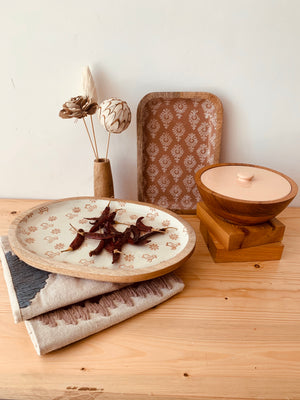 Enamel wooden Oval serve ware