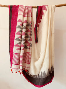 White Linen Geometric Jamdani PInk Grey Border